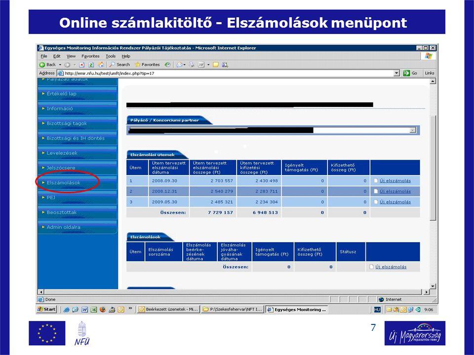 7 Online számlakitöltő - Elszámolások menüpont