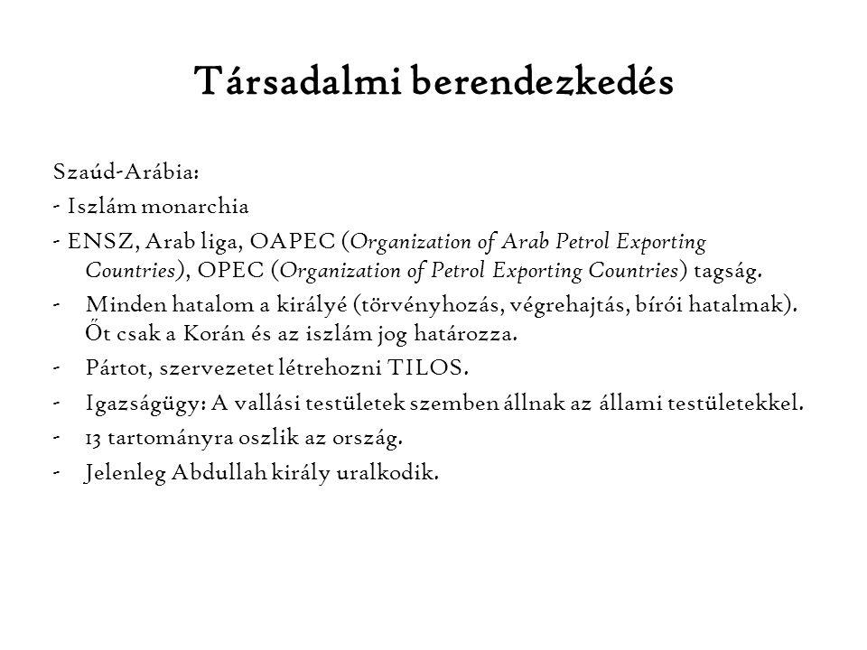 Társadalmi berendezkedés Szaúd-Arábia: - Iszlám monarchia - ENSZ, Arab liga, OAPEC ( Organization of Arab Petrol Exporting Countries), OPEC ( Organiza