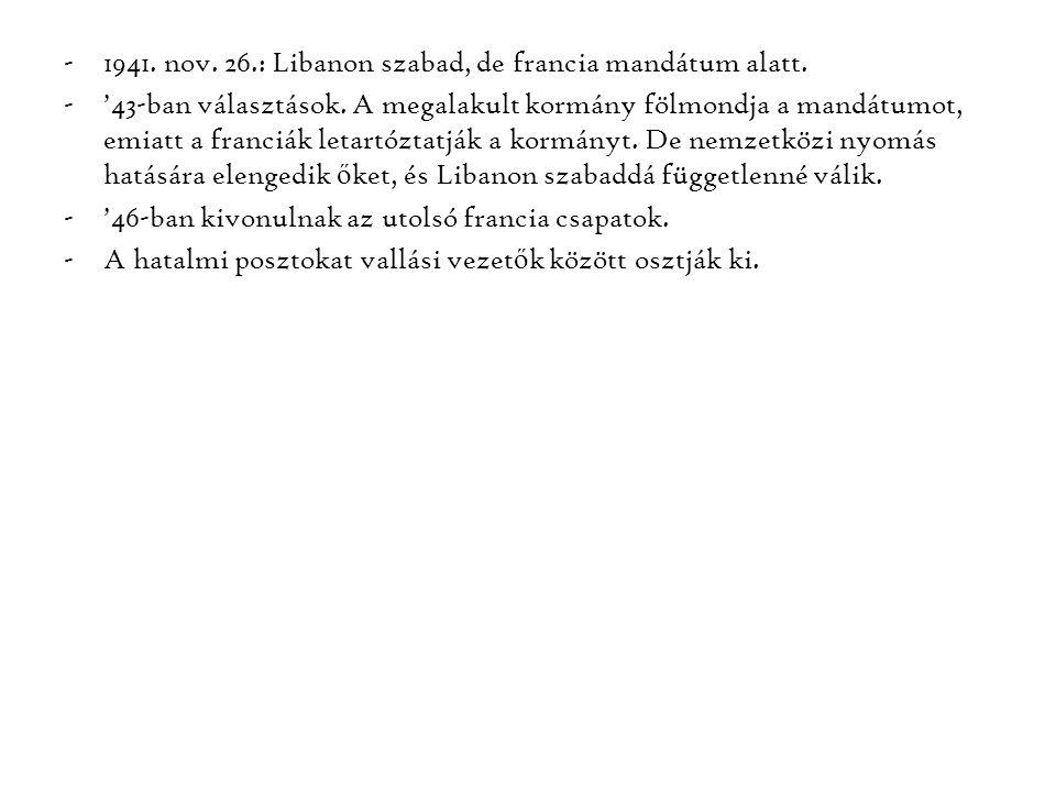 -1941. nov. 26.: Libanon szabad, de francia mandátum alatt. -'43-ban választások. A megalakult kormány fölmondja a mandátumot, emiatt a franciák letar