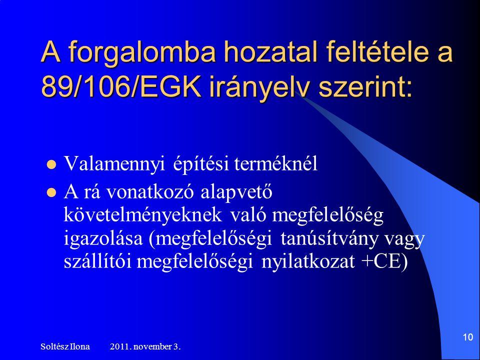 A forgalomba hozatal feltétele a 89/106/EGK irányelv szerint:  Valamennyi építési terméknél  A rá vonatkozó alapvető követelményeknek való megfelelőség igazolása (megfelelőségi tanúsítvány vagy szállítói megfelelőségi nyilatkozat +CE) Soltész Ilona 2011.