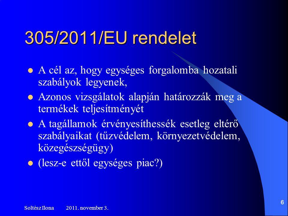 305/2011/EU rendelet  A cél az, hogy egységes forgalomba hozatali szabályok legyenek,  Azonos vizsgálatok alapján határozzák meg a termékek teljesítményét  A tagállamok érvényesíthessék esetleg eltérő szabályaikat (tűzvédelem, környezetvédelem, közegészségügy)  (lesz-e ettől egységes piac?) Soltész Ilona 2011.