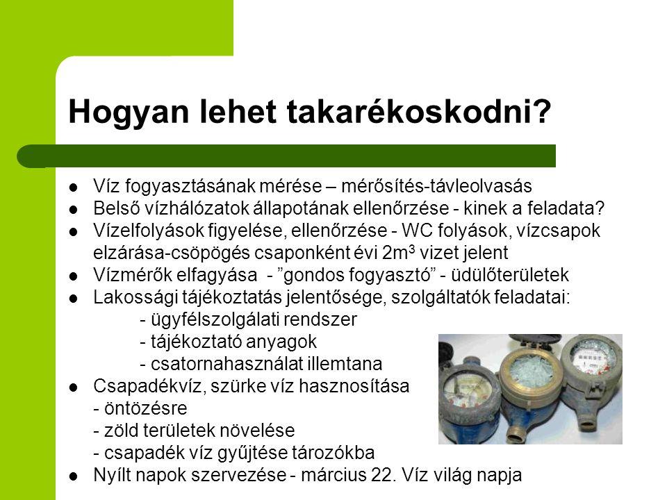 Hogyan lehet takarékoskodni?  Víz fogyasztásának mérése – mérősítés-távleolvasás  Belső vízhálózatok állapotának ellenőrzése - kinek a feladata?  V