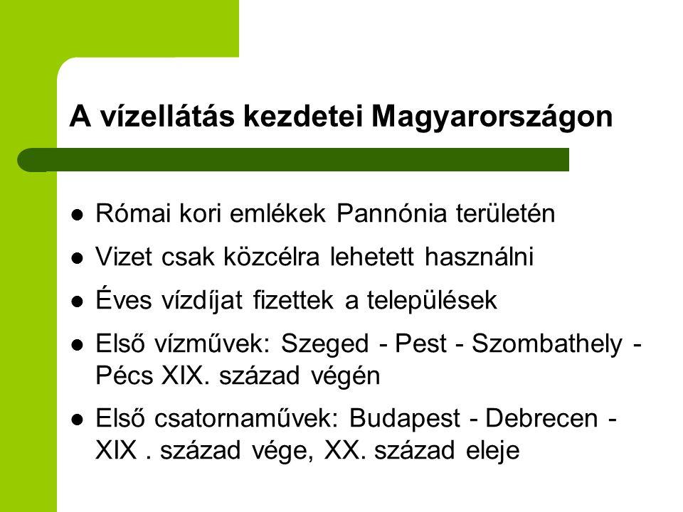 A vízellátás kezdetei Magyarországon  Római kori emlékek Pannónia területén  Vizet csak közcélra lehetett használni  Éves vízdíjat fizettek a telep