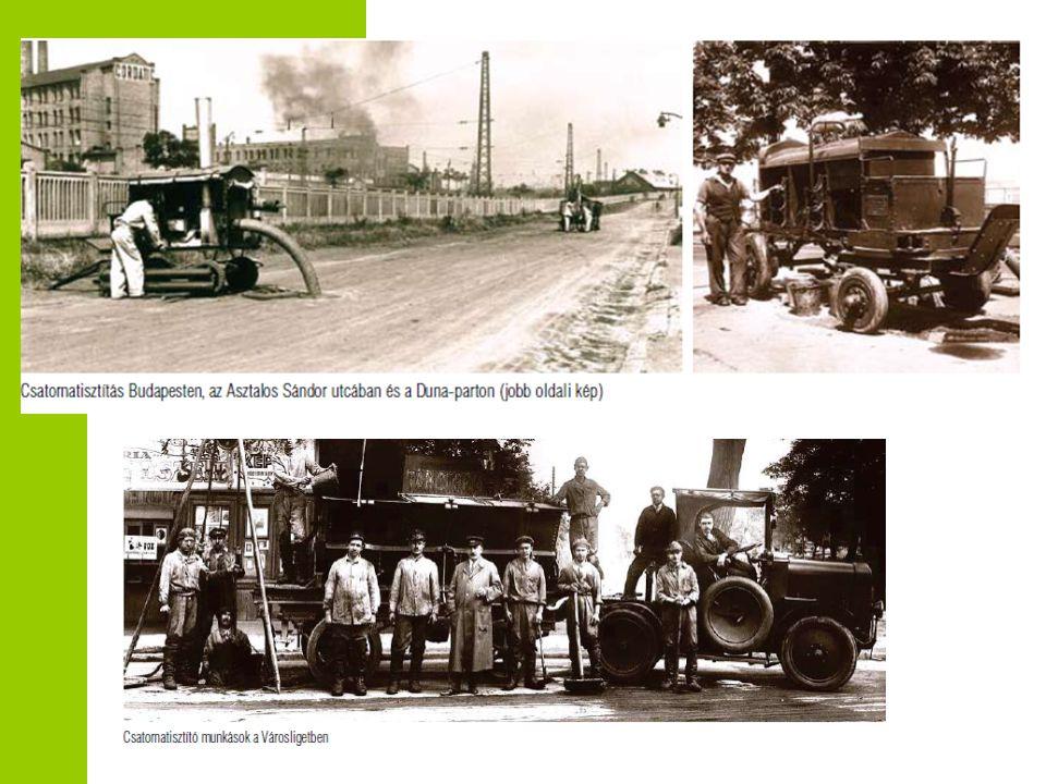 A vízellátás kezdetei Magyarországon  '50 évek első felében létrejönnek a nagyobb városok, megyék víz-csatornamű és fürdő vállalatai  '60 évek megalakulnak a minisztériumi vállalatok  '80-90 évek 5 állami 28 tanácsi vízmű vállalat  1990 tavasz elindul az átalakulás folyamata  Elkezdődött a felzárkózás folyamata - közmű olló zárása  Gyorsütemű fejlesztések – EU beruházások