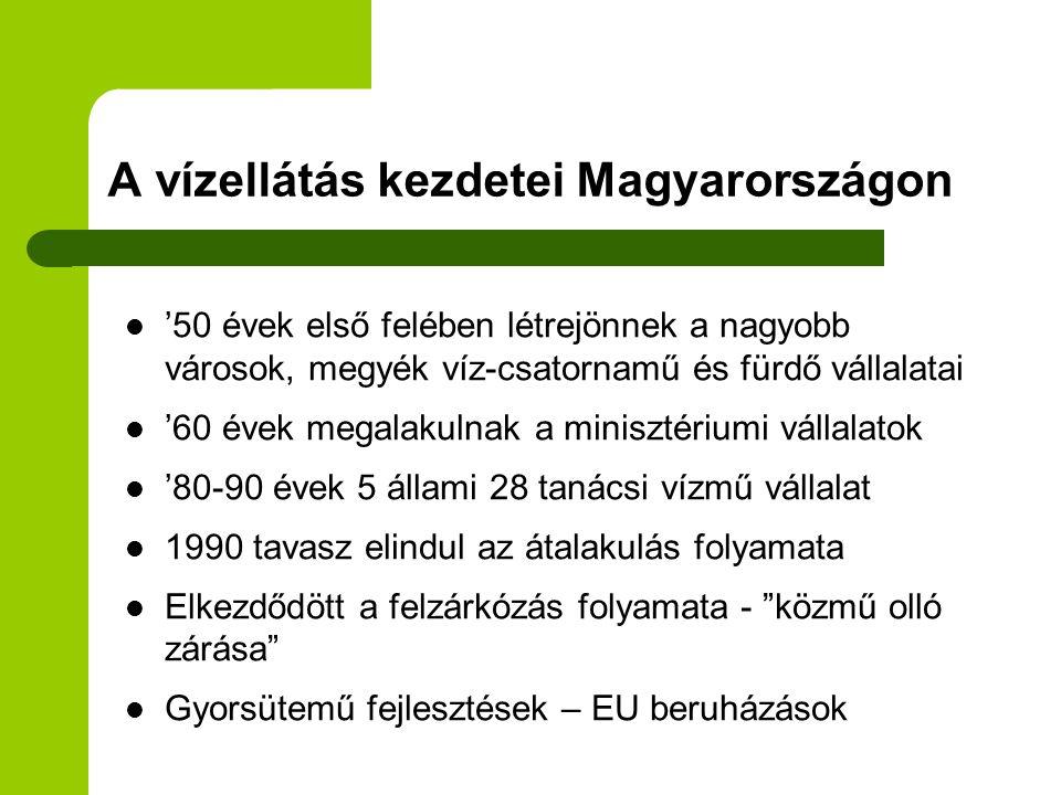 A vízszolgáltatás az egyik legfontosabb közszolgáltatás  Magyarországon a lakosság egészséges ivóvízzel való ellátása az önkormányzatok feladata  Szigorúan szabályozott és ellenőrzött szolgáltatás - jogszabályok - törvények  A társadalom gazdasági fejlettsége összefüggésben van a szolgáltatás fejlettségével és minőségével  A víz a XXI.század aranya - ma 1 milliárd ember él biztonságos vízellátás nélkül