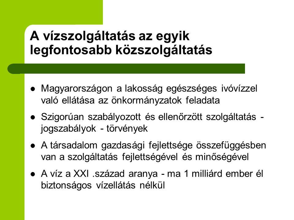Jelenlegi helyzet  Magyarországon jelenleg több mint 350 vízi közműszolgáltató van  Állami - önkormányzati feladat-gazdasági társaságok - működésük jellemzői  Viszonylag magas díjak - megfizethetőség  Ágazatra jellemző magas állandó költség  Természeti adottságok különbözősége  Víz és csatornadíj nagysága - az átlag keresetekhez viszonyítva magas Magyarországon