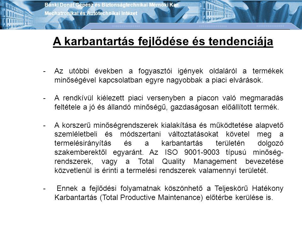 Bánki Donát Gépész és Biztonságtechnikai Mérnöki Kar Mechatronikai és Autótechnikai Intézet A karbantartás fejlődése és tendenciája -Az utóbbi években
