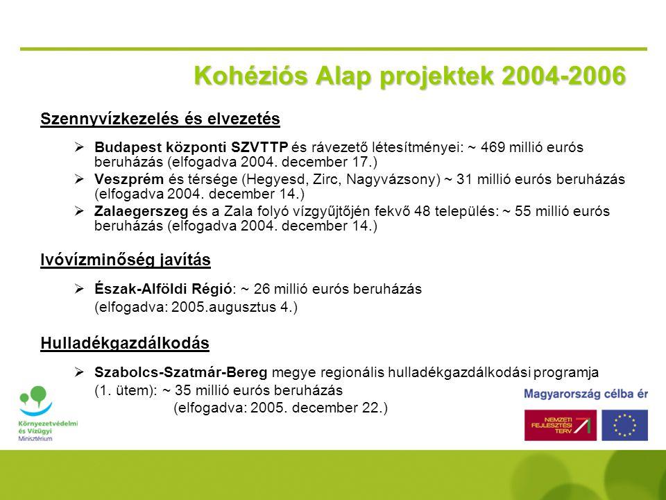 Kohéziós Alap 2004-2006 142,6 millió EUR évente környezetvédelemre  Maximális EU támogatási ráta  85%  Minimális projektméret  10 millió EUR  Pál