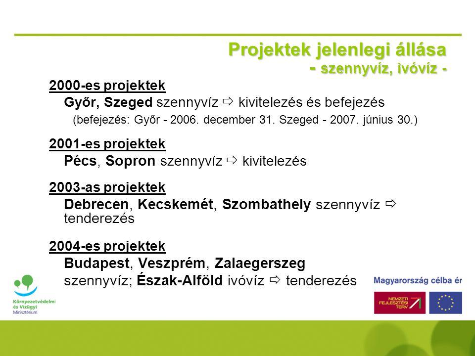 Kohéziós Alap projektek 2004-2006 Szennyvízkezelés és elvezetés  Budapest központi SZVTTP és rávezető létesítményei: ~ 469 millió eurós beruházás (el