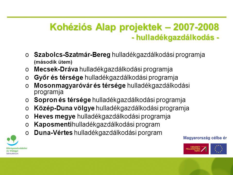 E l ő k é s z í t é s alatt álló Kohéziós Alap projektek