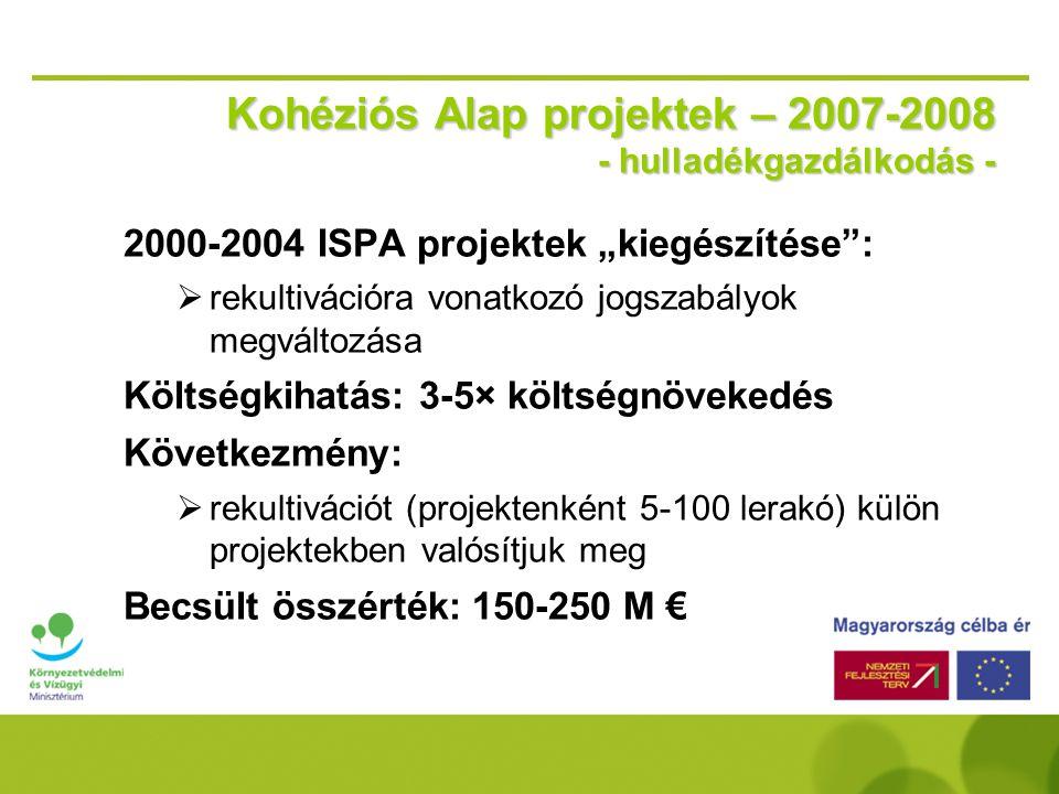 Kohéziós Alap projektek – 2007-2008 - hulladékgazdálkodás - oSzabolcs-Szatmár-Bereg hulladékgazdálkodási programja (második ütem) oMecsek-Dráva hullad