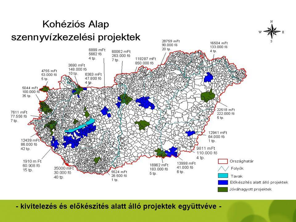 Kohéziós Alap projektek – 2007-2008 - szennyvízkezelés és csatornázás - •Dél-Budai agglomeráció csatornázása és szennyvíztisztítása •Nyíregyháza város