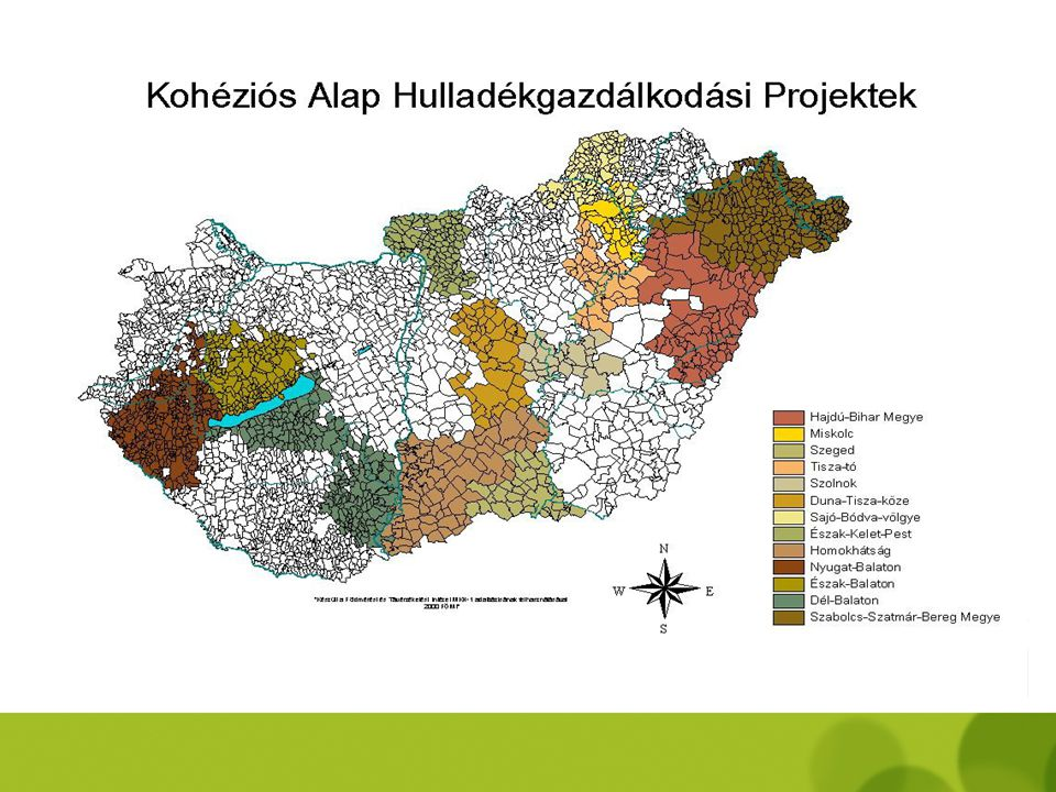 ISPA projektek jelenlegi állása - hulladékgazdálkodás - 2000 – Hajdú-Bihar, Miskolc, Szeged, Szolnok  kivitelezés 2001 – Tisza-tó, Duna-Tisza, Sajó-B