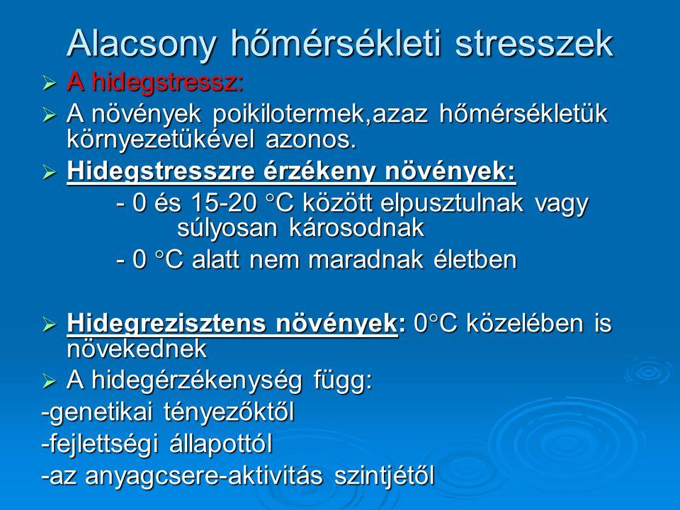  Hideg okozta károsodás tünetei : Elsődleges tünete a membránok fázisátmenete,amit a hőmérsékletnek egy kritikus érték alá csökkenése vált ki.(A hőm.