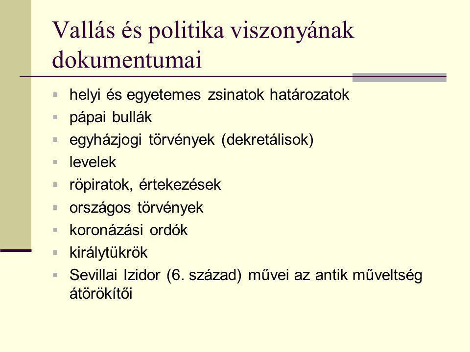 Vallás és politika viszonyának dokumentumai  helyi és egyetemes zsinatok határozatok  pápai bullák  egyházjogi törvények (dekretálisok)  levelek 