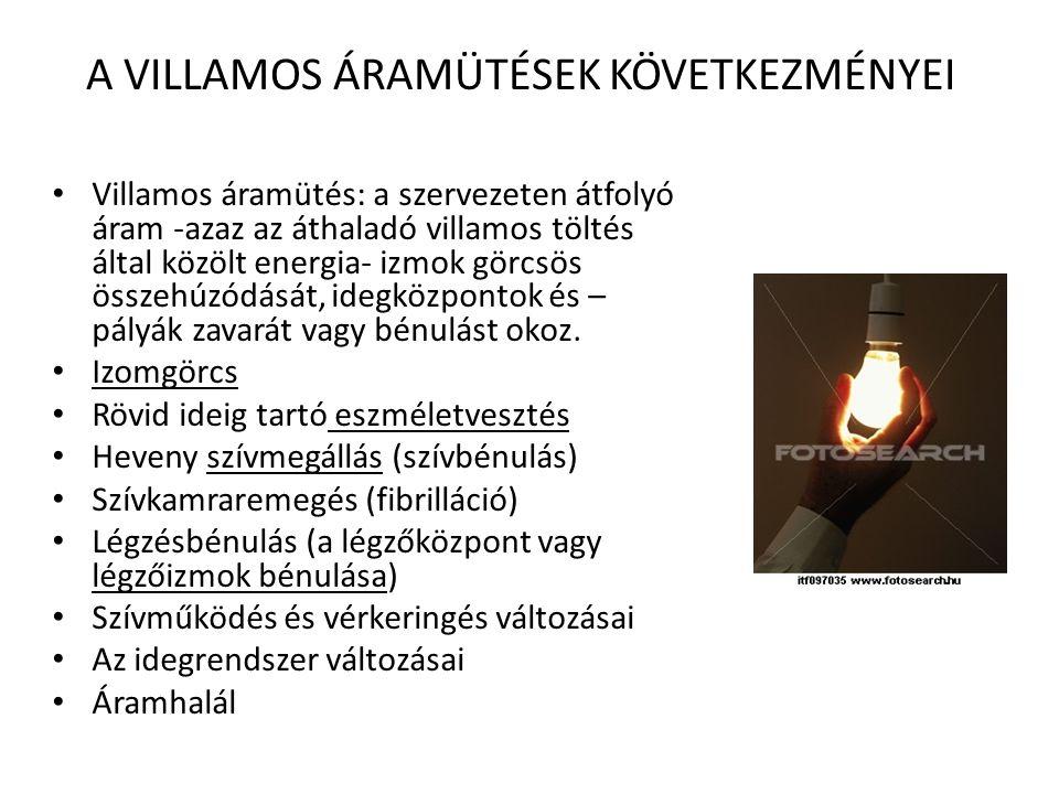 A VILLAMOS ÁRAMÜTÉSEK KÖVETKEZMÉNYEI • Villamos áramütés: a szervezeten átfolyó áram -azaz az áthaladó villamos töltés által közölt energia- izmok görcsös összehúzódását, idegközpontok és – pályák zavarát vagy bénulást okoz.