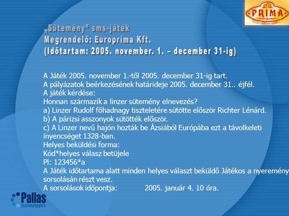 A Játék 2005.november 1.-től 2005. december 31-ig tart.