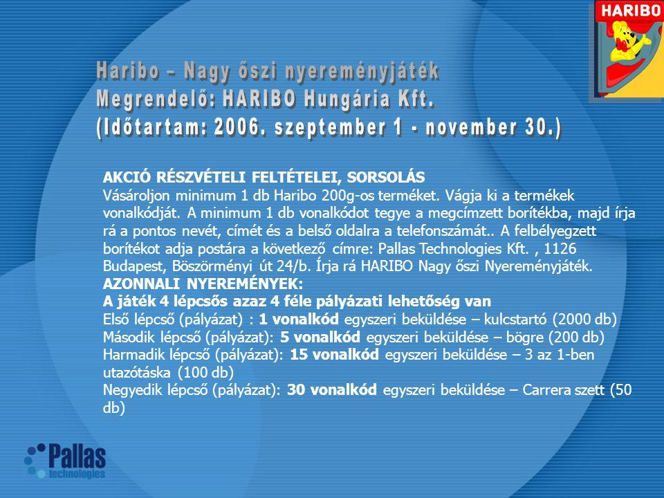 AKCIÓ RÉSZVÉTELI FELTÉTELEI, SORSOLÁS Vásároljon minimum 1 db Haribo 200g-os terméket.