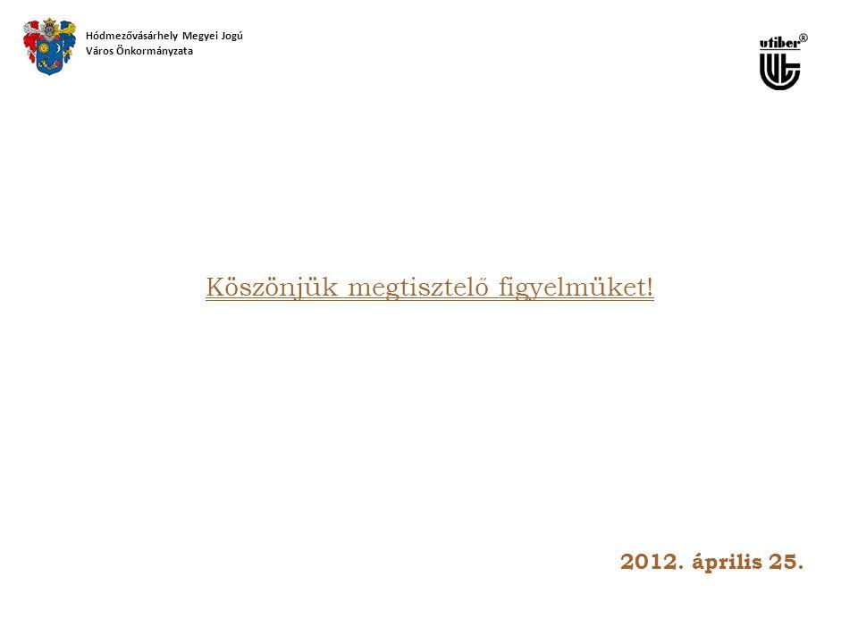 Köszönjük megtisztelő figyelmüket! Hódmezővásárhely Megyei Jogú Város Önkormányzata 2012. április 25.