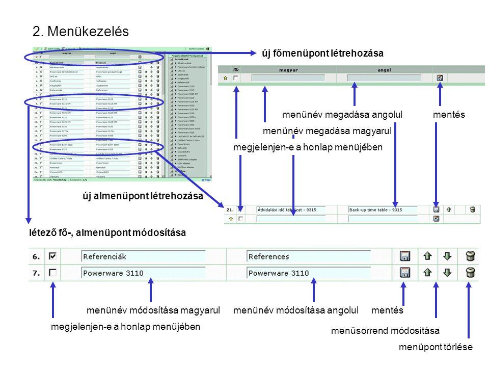 2. Menükezelés új főmenüpont létrehozása menünév megadása magyarul menünév megadása angolulmentés létező fő-, almenüpont módosítása menünév módosítása