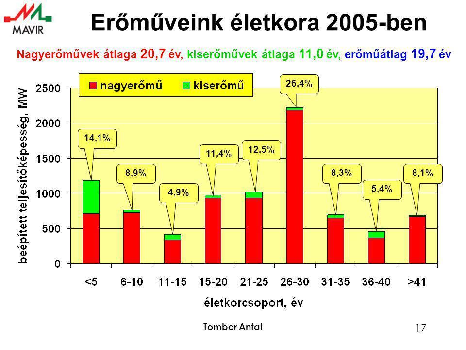 Tombor Antal 17 Erőműveink életkora 2005-ben Nagyerőművek átlaga 20,7 év, kiserőművek átlaga 11,0 év, erőműátlag 19,7 év 14,1% 8,9% 4,9% 11,4% 12,5% 2