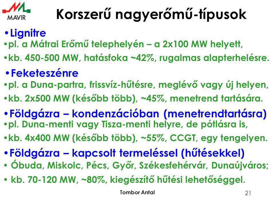 Tombor Antal 21 Korszerű nagyerőmű-típusok • Lignitre • pl. a Mátrai Erőmű telephelyén – a 2x100 MW helyett, • kb. 450-500 MW, hatásfoka ~42%, rugalma