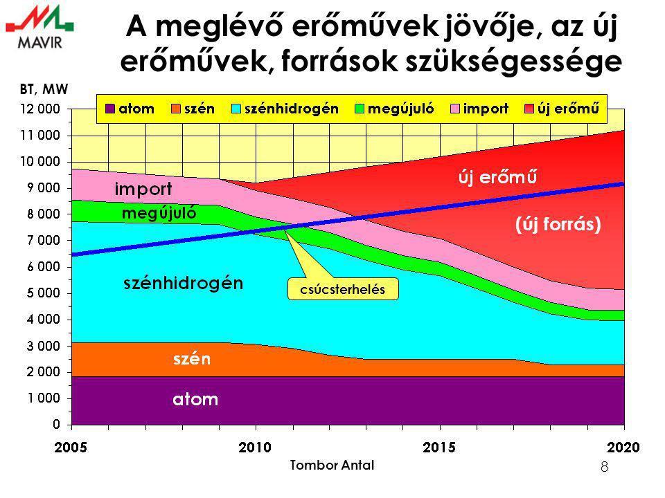Tombor Antal 8 csúcsterhelés BT, MW A meglévő erőművek jövője, az új erőművek, források szükségessége (új forrás)
