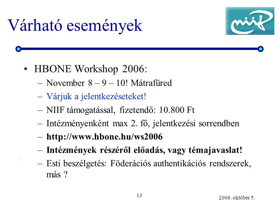 13 2006. október 5. Várható események •HBONE Workshop 2006: –November 8 – 9 – 10! Mátrafüred –Várjuk a jelentkezéseteket! –NIIF támogatással, fizetend