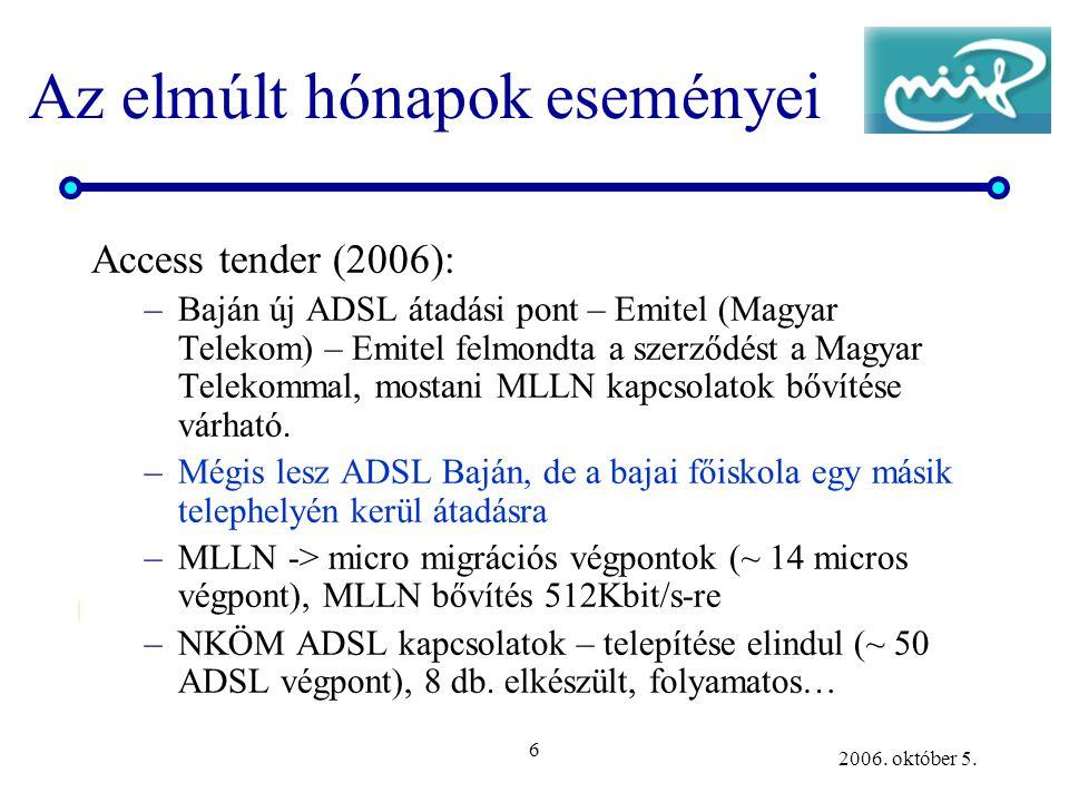 6 2006. október 5. Az elmúlt hónapok eseményei Access tender (2006): –Baján új ADSL átadási pont – Emitel (Magyar Telekom) – Emitel felmondta a szerző