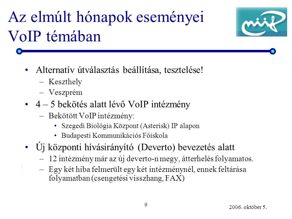 9 2006. október 5. Az elmúlt hónapok eseményei VoIP témában •Alternatív útválasztás beállítása, tesztelése! –Keszthely –Veszprém •4 – 5 bekötés alatt