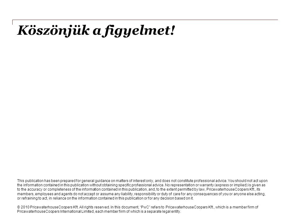Köszönjük a figyelmet! This publication has been prepared for general guidance on matters of interest only, and does not constitute professional advic