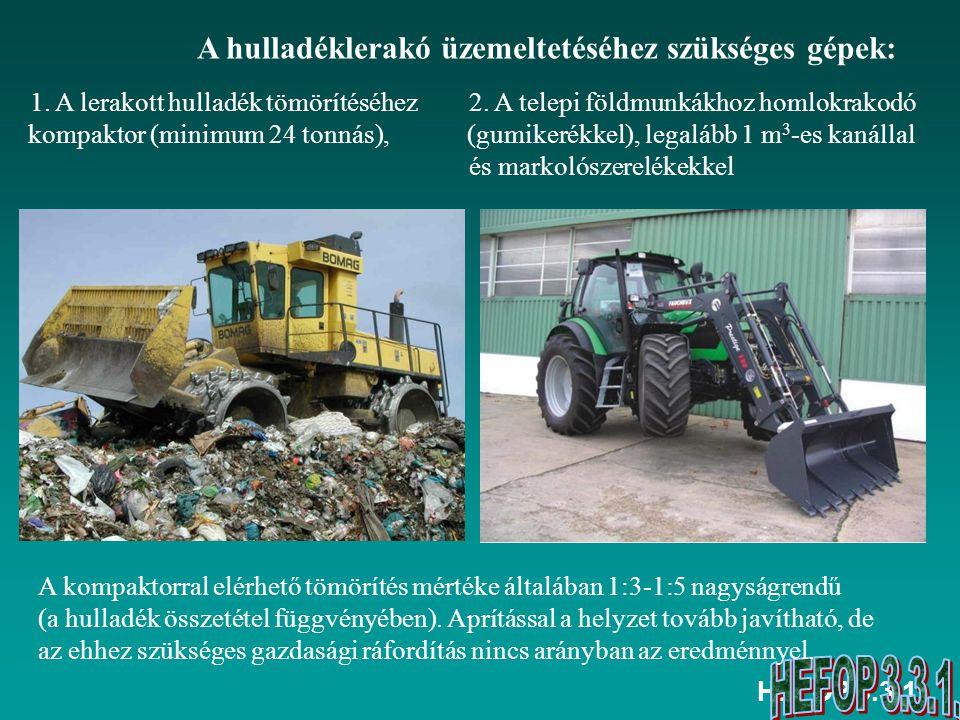 HEFOP 3.3.1. A hulladéklerakó üzemeltetéséhez szükséges gépek: 2. A telepi földmunkákhoz homlokrakodó (gumikerékkel), legalább 1 m 3 -es kanállal és m