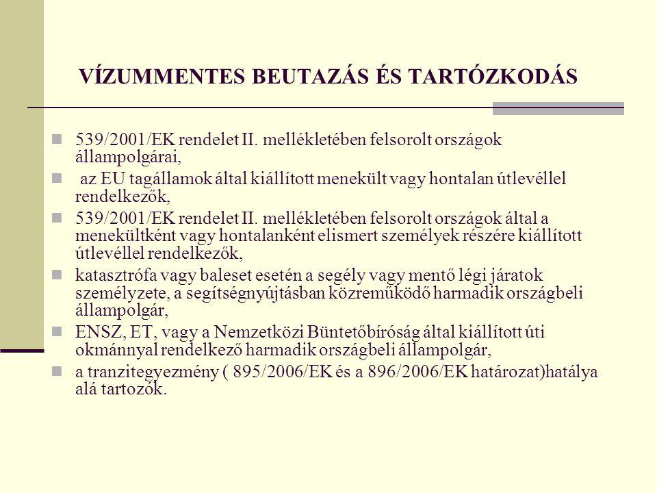 VÍZUMMENTES BEUTAZÁS ÉS TARTÓZKODÁS  539/2001/EK rendelet II. mellékletében felsorolt országok állampolgárai,  az EU tagállamok által kiállított men