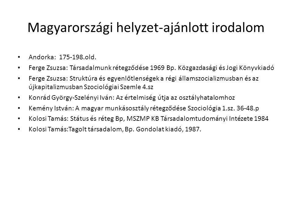 Magyarországi helyzet-ajánlott irodalom • Andorka: 175-198.old. • Ferge Zsuzsa: Társadalmunk rétegződése 1969 Bp. Közgazdasági és Jogi Könyvkiadó • Fe