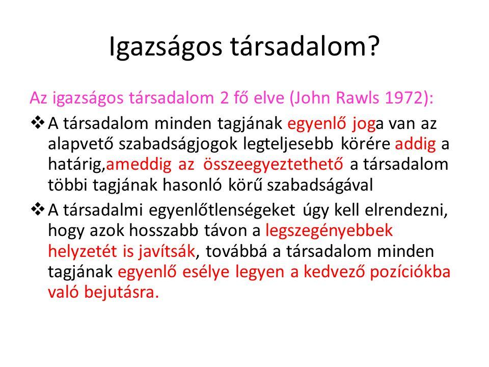 Igazságos társadalom? Az igazságos társadalom 2 fő elve (John Rawls 1972):  A társadalom minden tagjának egyenlő joga van az alapvető szabadságjogok