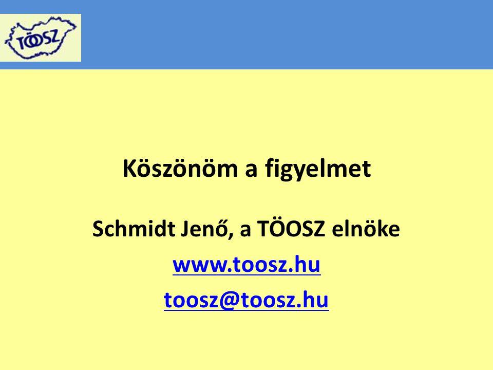 Köszönöm a figyelmet Schmidt Jenő, a TÖOSZ elnöke www.toosz.hu toosz@toosz.hu