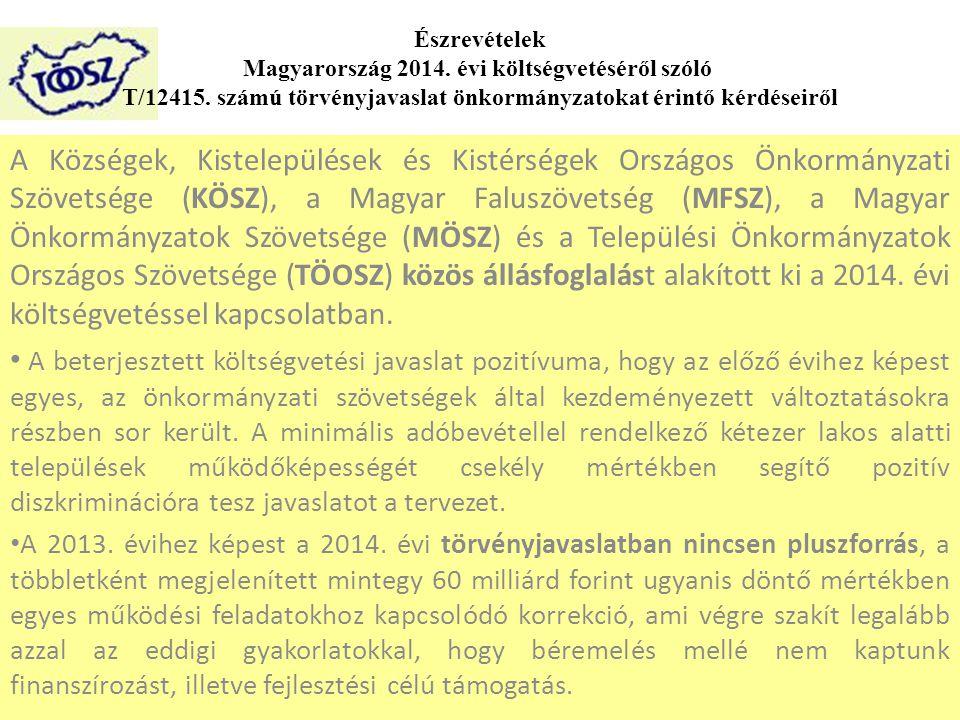 A Községek, Kistelepülések és Kistérségek Országos Önkormányzati Szövetsége (KÖSZ), a Magyar Faluszövetség (MFSZ), a Magyar Önkormányzatok Szövetsége (MÖSZ) és a Települési Önkormányzatok Országos Szövetsége (TÖOSZ) közös állásfoglalást alakított ki a 2014.