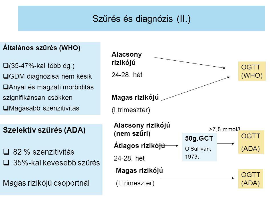 Szűrés és diagnózis (II.) Szelektív szűrés (ADA)  82 % szenzitivitás  35%-kal kevesebb szűrés Magas rizikójú csoportnál Általános szűrés (WHO)  (35-47%-kal több dg.)  GDM diagnózisa nem késik  Anyai és magzati morbiditás szignifikánsan csökken  Magasabb szenzitivitás Alacsony rizikójú 24-28.
