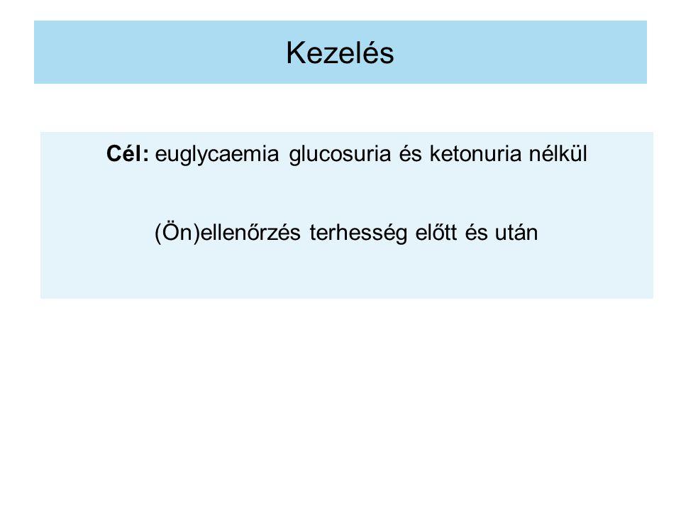 Kezelés Cél: euglycaemia glucosuria és ketonuria nélkül (Ön)ellenőrzés terhesség előtt és után
