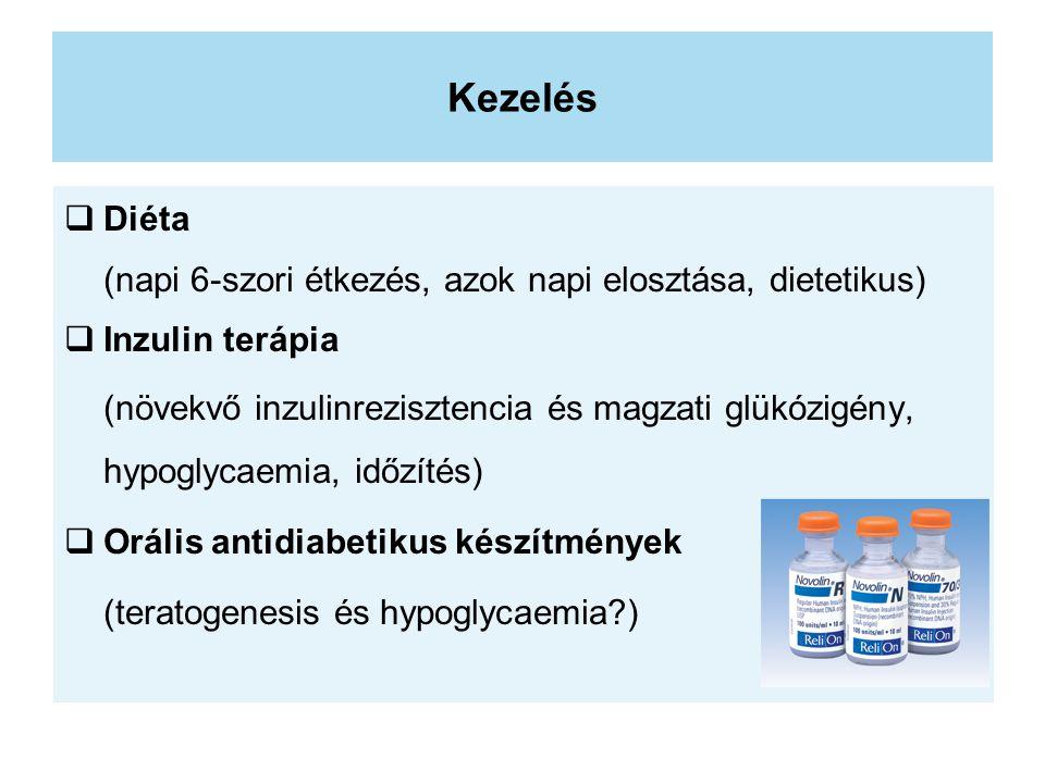 Kezelés  Diéta (napi 6-szori étkezés, azok napi elosztása, dietetikus)  Inzulin terápia (növekvő inzulinrezisztencia és magzati glükózigény, hypoglycaemia, időzítés)  Orális antidiabetikus készítmények (teratogenesis és hypoglycaemia?)