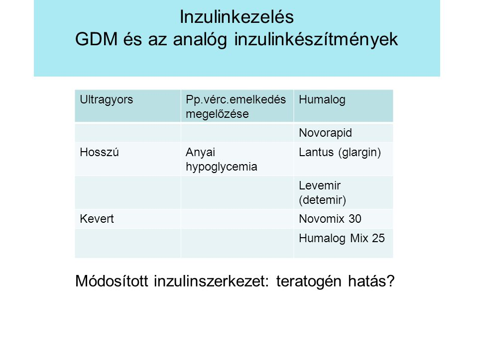 Inzulinkezelés GDM és az analóg inzulinkészítmények Módosított inzulinszerkezet: teratogén hatás? UltragyorsPp.vérc.emelkedés megelőzése Humalog Novor