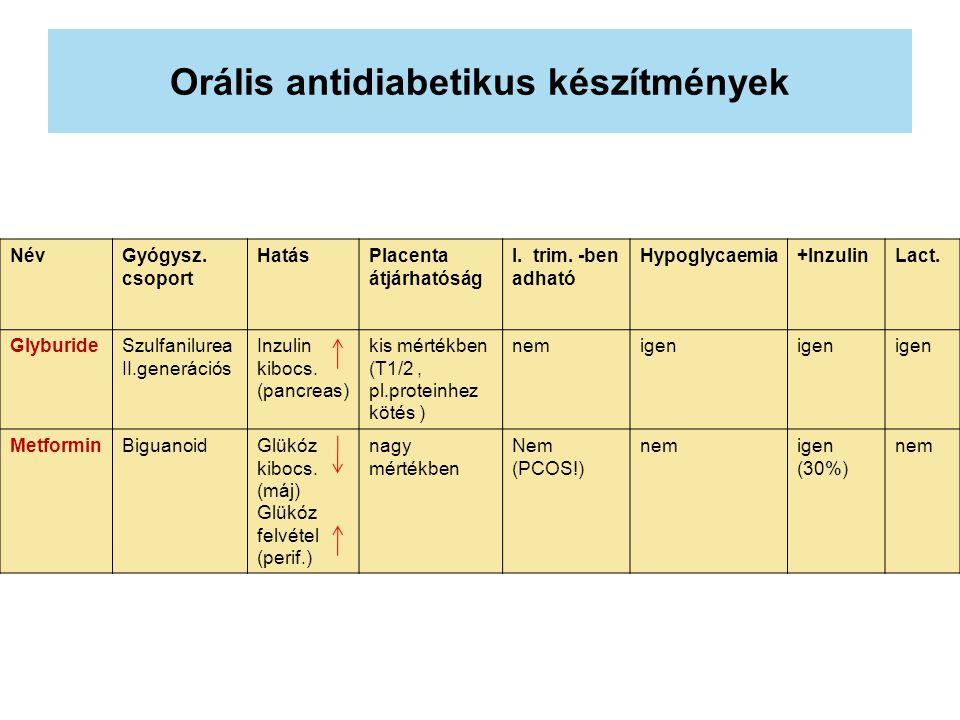 Orális antidiabetikus készítmények NévGyógysz. csoport HatásPlacenta átjárhatóság I. trim. -ben adható Hypoglycaemia+InzulinLact. GlyburideSzulfanilur