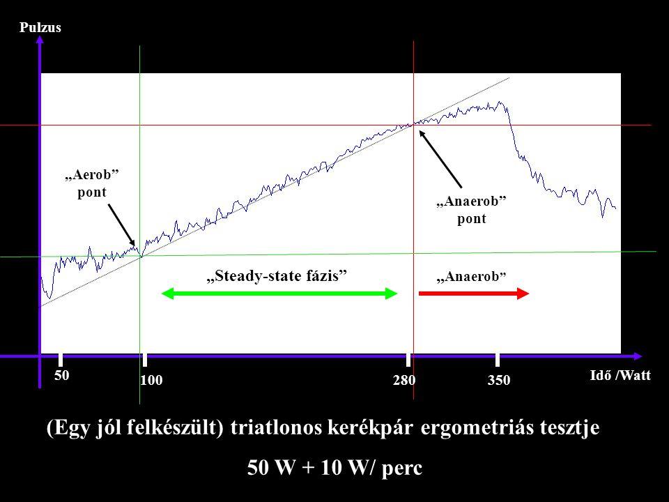 """Pulzus Idő /Watt """"Aerob"""" pont """"Anaerob"""" pont """"Steady-state fázis"""" (Egy jól felkészült) triatlonos kerékpár ergometriás tesztje 50 W + 10 W/ perc 50 10"""