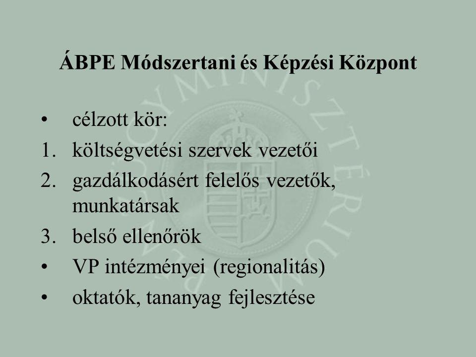 ÁBPE Módszertani és Képzési Központ ÁBPE MKK EU-s támogatással (TF) •1. oktatók képzése (és tananyag) lezárult •2. e-learning (moduláris) lezárult/tes