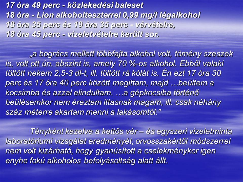 17 óra 49 perc - közlekedési baleset 18 óra - Lion alkoholteszterrel 0,99 mg/l légalkohol 18 óra 35 perc és 19 óra 35 perc - vérvételre, 18 óra 45 per