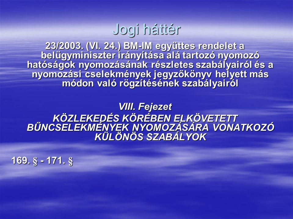 Jogi háttér 23/2003. (VI. 24.) BM-IM együttes rendelet a belügyminiszter irányítása alá tartozó nyomozó hatóságok nyomozásának részletes szabályairól