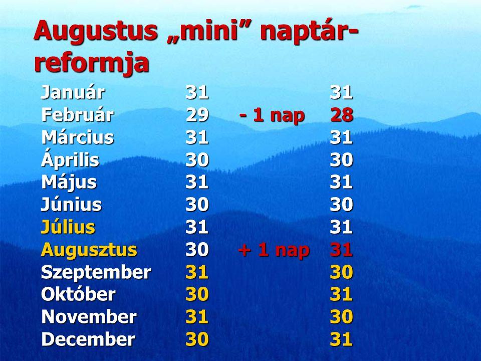 "Augustus ""mini"" naptár- reformja Január 3131 Február 29 - 1 nap 28 Március 3131 Április 3030 Május 3131 Június 3030 Július 3131 Augusztus 30 + 1 nap 3"