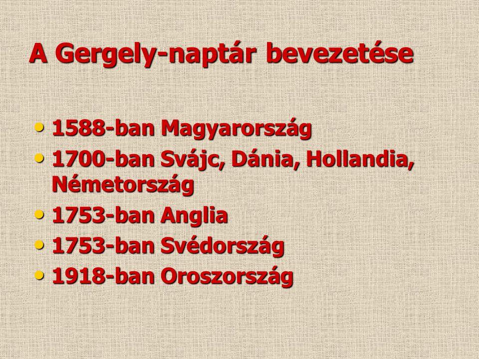 A Gergely-naptár bevezetése • 1588-ban Magyarország • 1700-ban Svájc, Dánia, Hollandia, Németország • 1753-ban Anglia • 1753-ban Svédország • 1918-ban