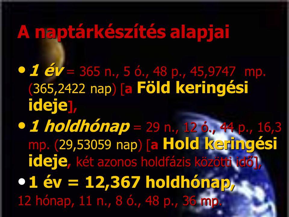 A naptárkészítés alapjai • 1 év = 365 n., 5 ó., 48 p., 45,9747 mp. (365,2422 nap) [a Föld keringési ideje ], • 1 holdhónap = 29 n., 12 ó., 44 p., 16,3