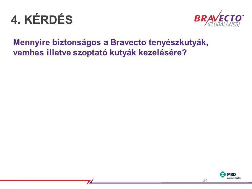 4.KÉRDÉS Mennyire biztonságos a Bravecto tenyészkutyák, vemhes illetve szoptató kutyák kezelésére.